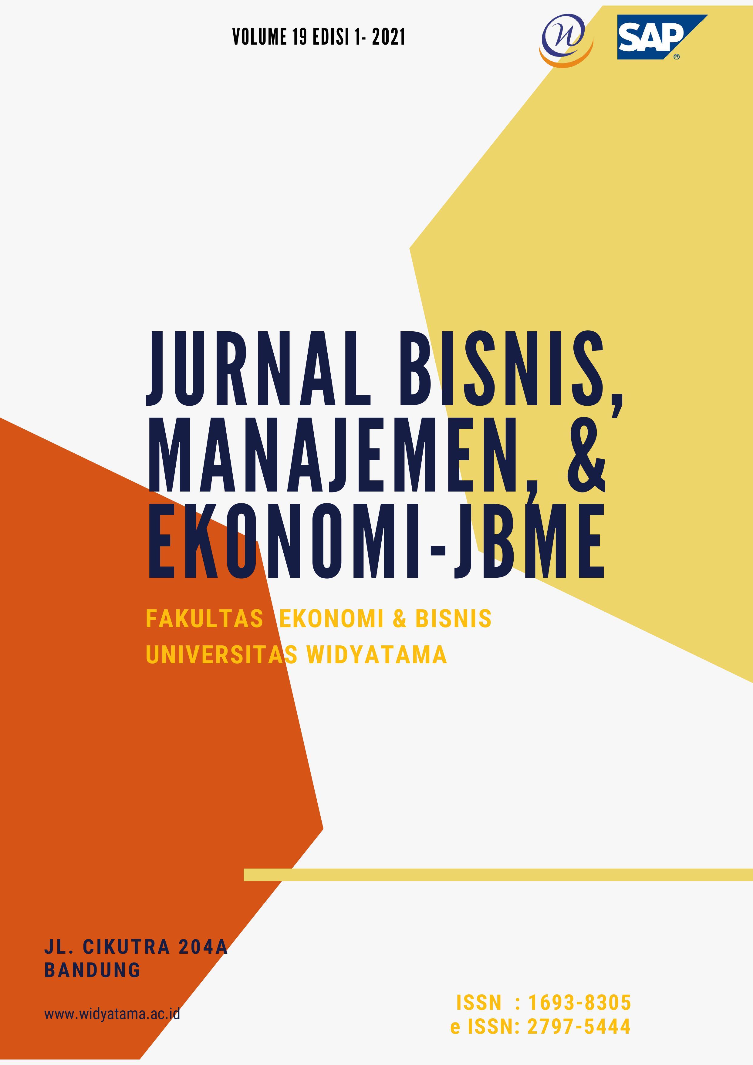 View Vol. 19 No. 1 (2021): Jurnal Bisnis, Manajemen, & Ekonomi-JBME