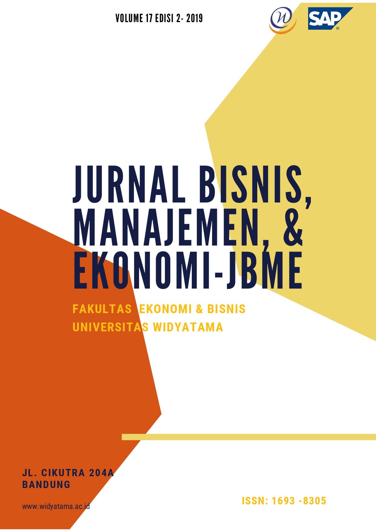 View Vol. 17 No. 2 (2019): Jurnal Bisnis Manajemen & Ekonomi